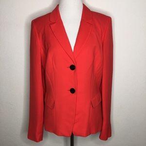 Lafayette 148 Red Orange Two Button Blazer Size 8